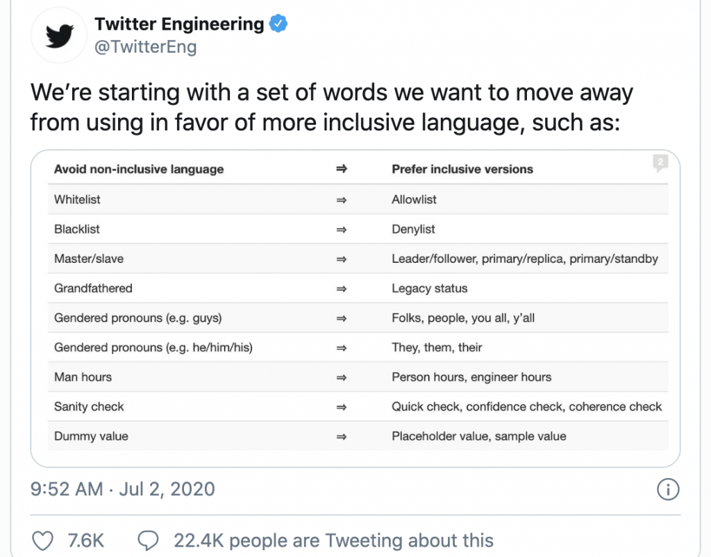 twitter engineering exclusionary words list