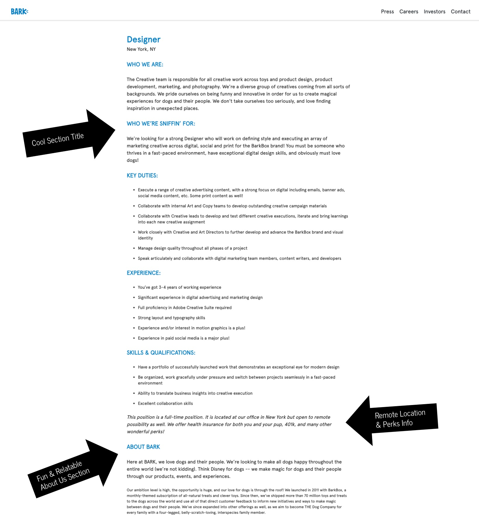 How to write a job description template bark | Ongig