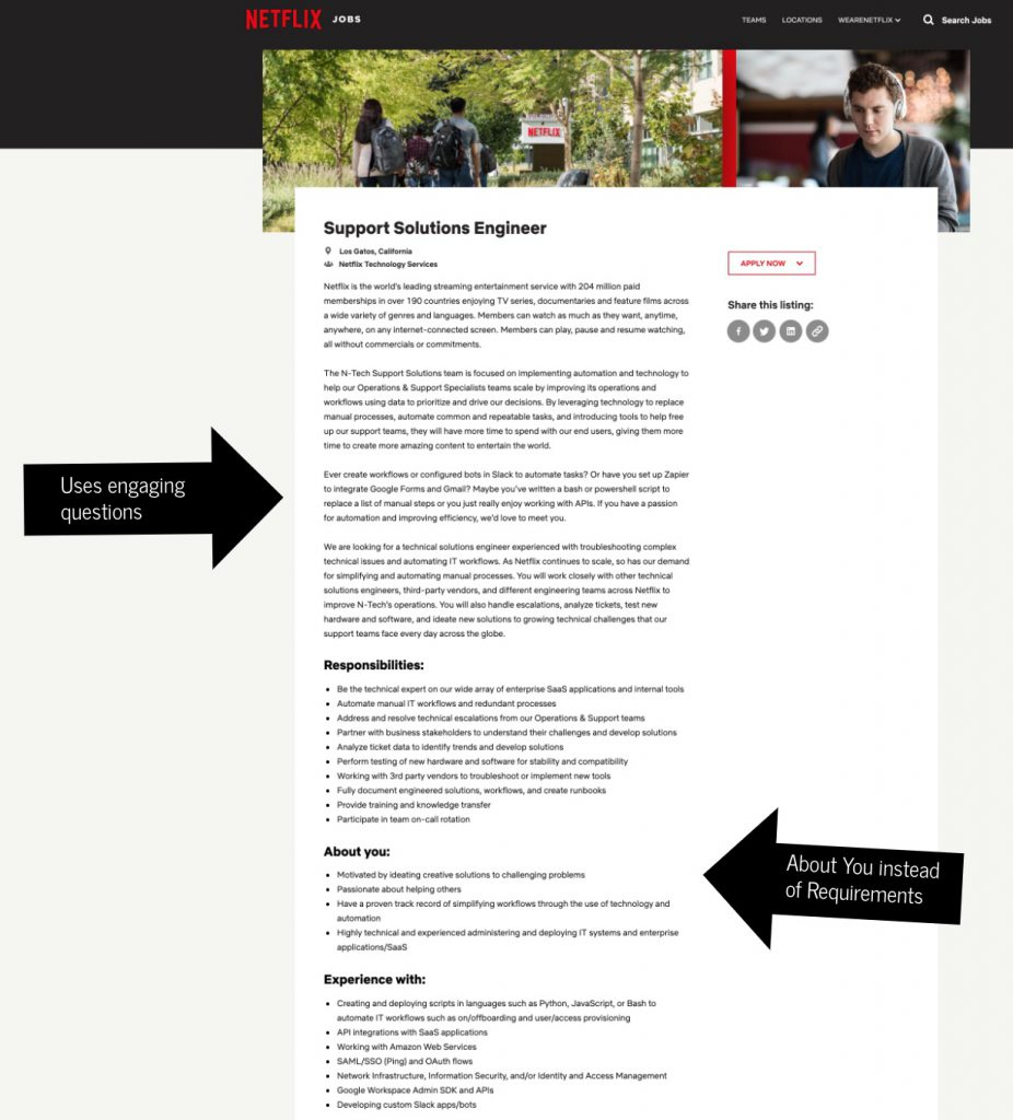 How to write a job description template netflix | Ongig