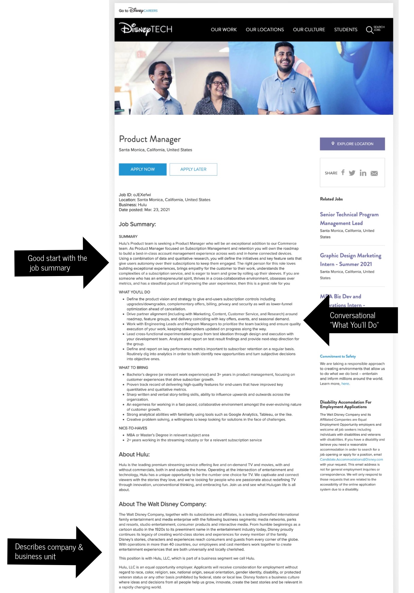 How to write a job description template Disney | Ongig