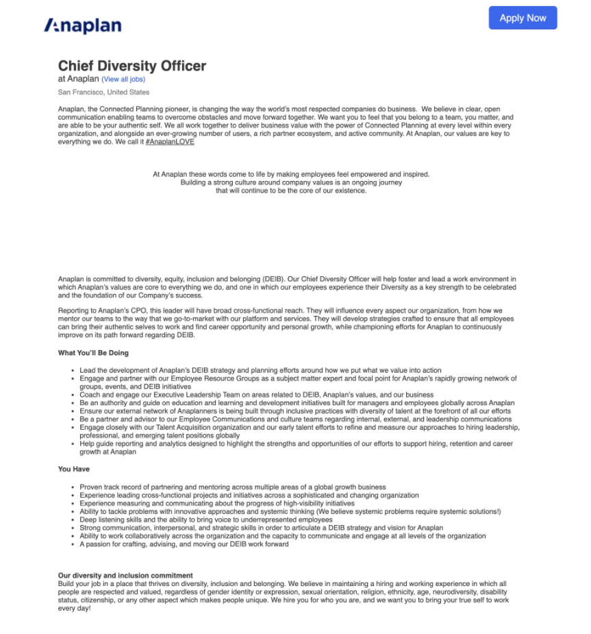anaplan chief diversity officer job description
