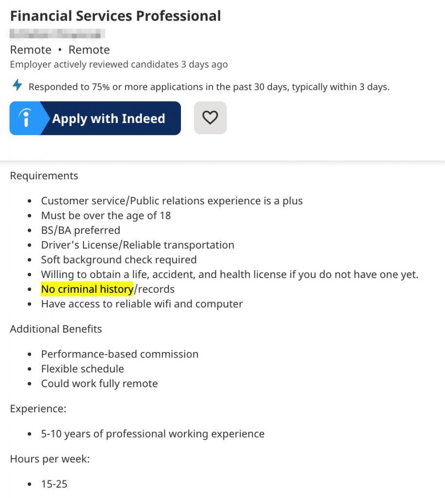 no hiring ex felons