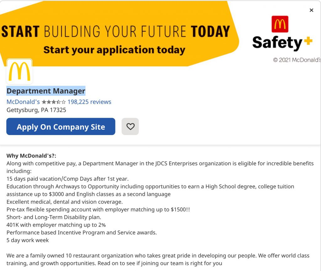 Employee value proposition example McDonalds