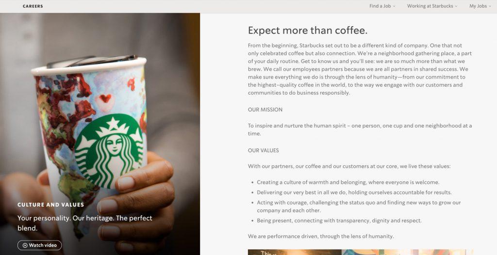 Starbucks employee value proposition example