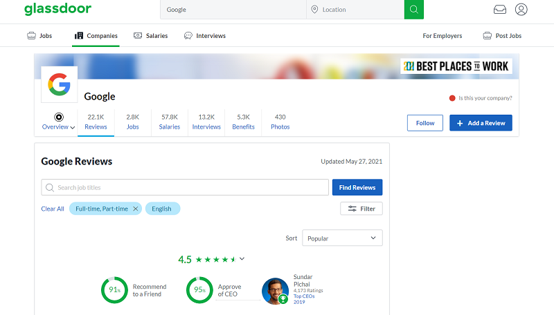 glassdoor employer review site