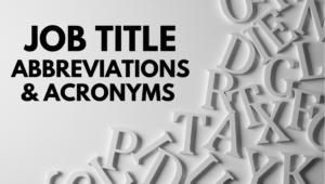 job title abbreviations list